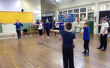 Karate skills in Year 6.