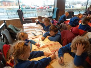 When we arrived at Costa we enjoyed colouring Christmas pictures.