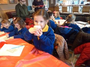 We loved sipping yummy hot chocolate.