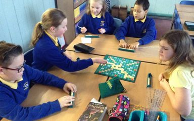Practising our spelling skills with some Scrabble!