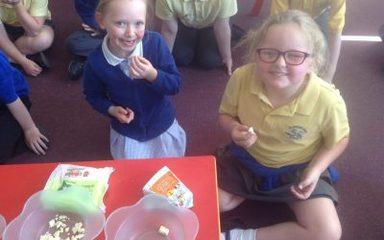 Sampling and tasting healthy foods!