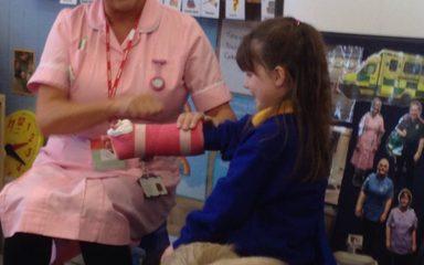 Nurse Wendy visits Reception.