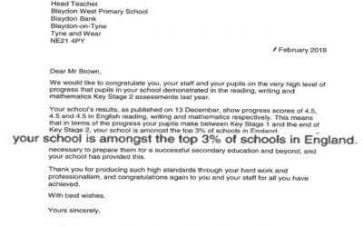 Blaydon West in top 3% of schools in England
